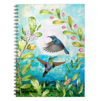 Hummingbird Morning Sunrise Watercolor Nature Art Notebook
