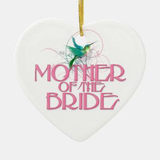 Hummingbird Mother of the Bride Ceramic Heart Decoration