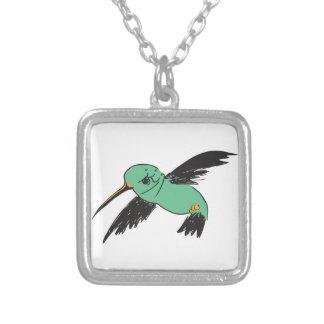 HUMMINGBIRD SQUARE PENDANT NECKLACE
