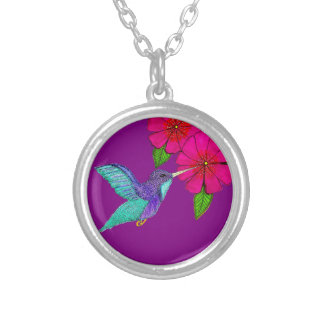 Hummingbird Necklace  Purple and Fuchsia