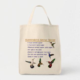 Hummingbird Nectar Recipe Grocery Tote Bag