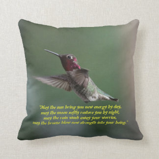 Hummingbird on a Pillow with Apache Saying