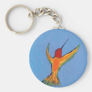 Hummingbird on blue basic round button key ring