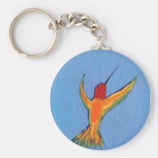 Hummingbird on blue basic round button key ring