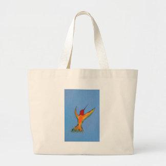 Hummingbird on blue jumbo tote bag