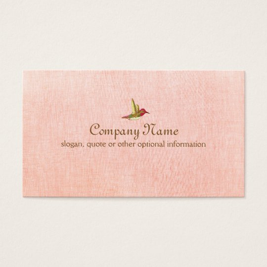 Hummingbird on Faux Pink Linen Business Card