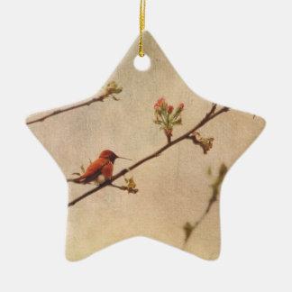 Hummingbird on Flowering Cherry Tree Christmas Ornament