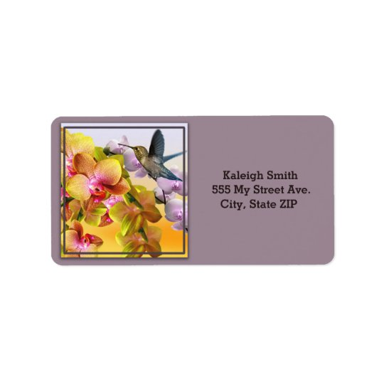 Hummingbird on Lilacs and Orchids on Purple Address Label