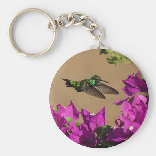 Hummingbird on purple basic round button key ring