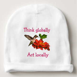 Hummingbird  on Think Globally Act Locally Beanie Baby Beanie