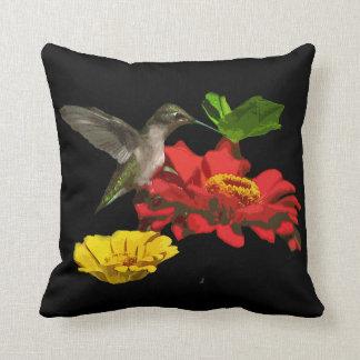 Hummingbird on Zinnias Cushion