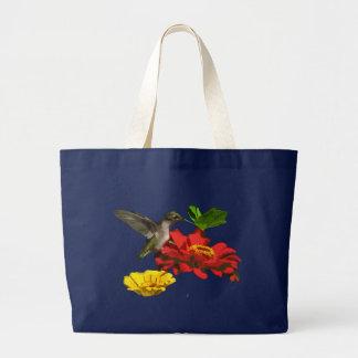 Hummingbird on Zinnias Large Tote Bag