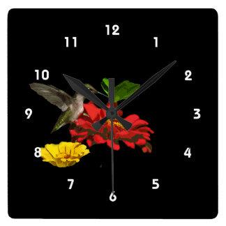 Hummingbird on Zinnias Square Wall Clock