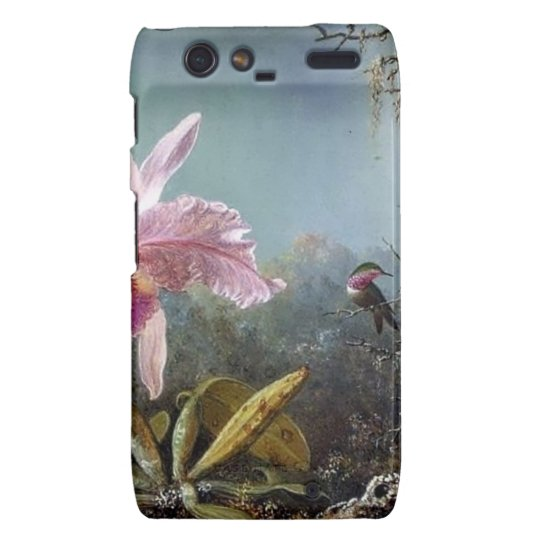 Hummingbird orchid flower tropical forest painting motorola droid RAZR cover