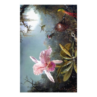 Hummingbird orchid flower tropical forest painting stationery