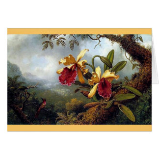 Hummingbird Orchids painting Card