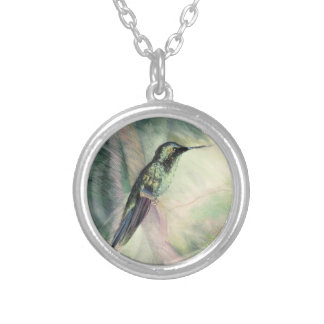 Hummingbird Pastel Fine Art Silver Plated Necklace