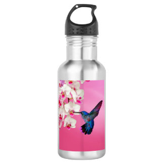 Hummingbird Pink Background Water Bottle