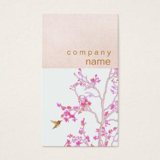 Hummingbird Pretty Pink Buds Branch Makeup Artist Business Card