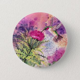 Hummingbird Purple Thistle Art Print 6 Cm Round Badge