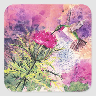 Hummingbird Purple Thistle Art Print Stickers Tags