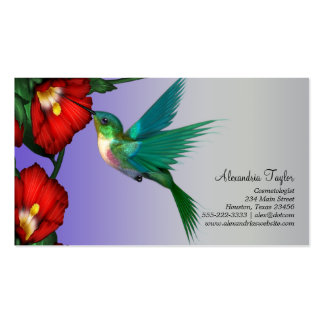 Hummingbird Red Hibiscus Teal Blue Purple Business Cards