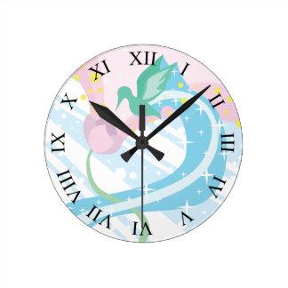 Hummingbird Roman Numerals Round Clock