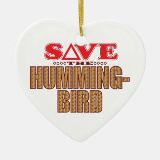 Hummingbird Save Ceramic Heart Decoration