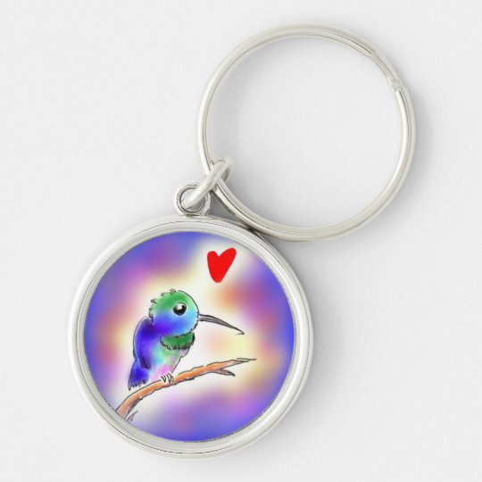 Hummingbird Silver-Colored Round Key Ring