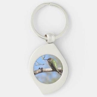 Hummingbird Silver-Colored Swirl Key Ring