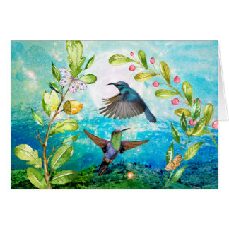 Hummingbird Sunrise Watercolor Nature Birds Floral Card