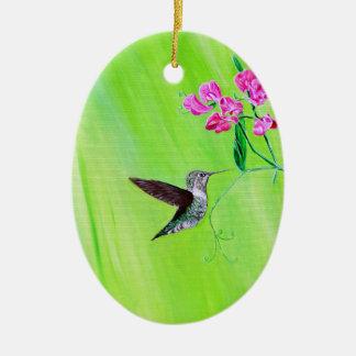 Hummingbird & Sweet Peas Christmas Ornament