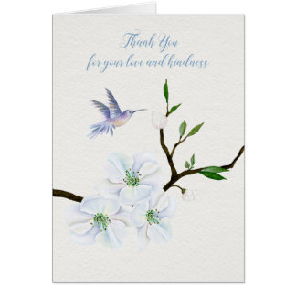 Hummingbird Sympathy Thank You Note card