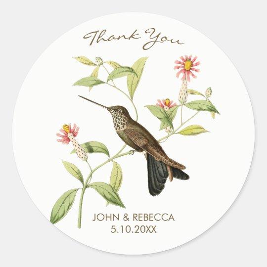 Hummingbird thank you favor bridal shower sticker