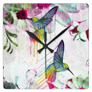 Hummingbird Time Square Wall Clock
