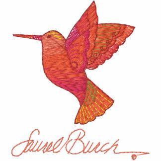 Hummingbird Visit Embroidered Ladies Pullover Hoodie