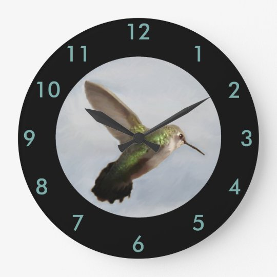 Hummingbird Wall Clock-Home Decor-Blue/Black Large Clock