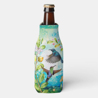 Hummingbird Watercolor Art | Nature Garden Floral Bottle Cooler