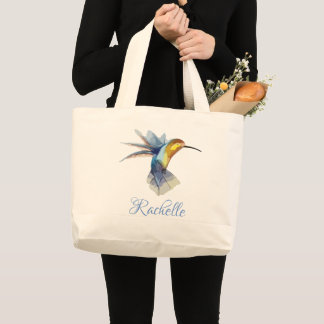 hummingbird watercolor peaceful beautiful drawing large tote bag