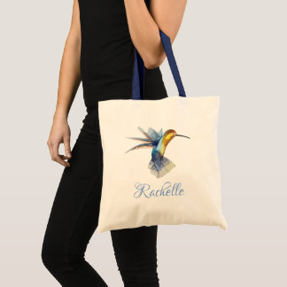 hummingbird watercolor peaceful beautiful drawing tote bag