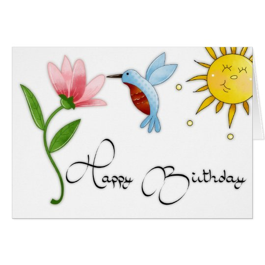 Hummingbird with Flower Happy Birthday Card
