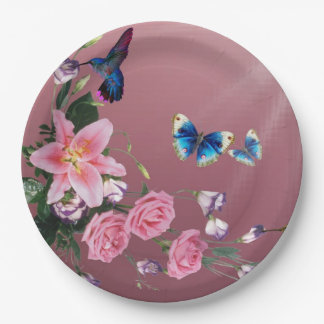 Hummingbird With Flowers Butterflies Paper Plates