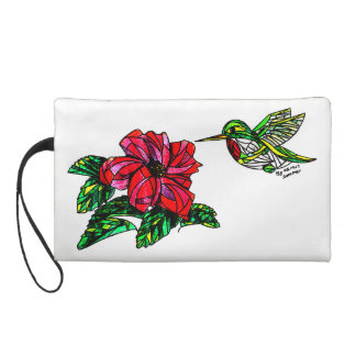 Hummingbird with hibiscus wristlet
