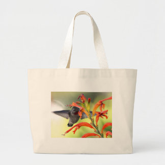 Hummingbird with Lily Caught In Motion Tote Bags