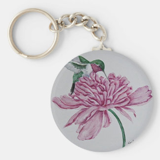 Hummingbird with Peony Key Ring