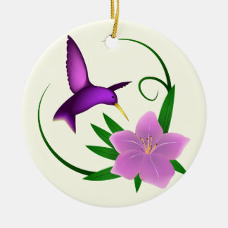 Hummingbird with pink flower christmas ornament
