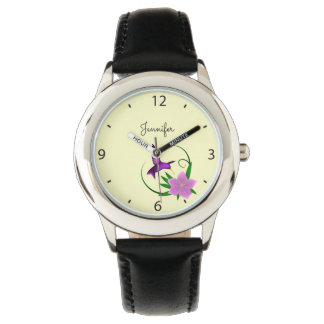 Hummingbird with pink flower name girl watches