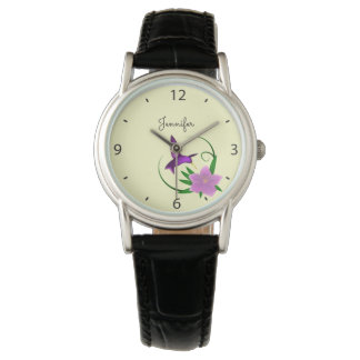 Hummingbird with pink flower name wristwatch