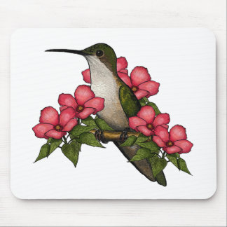 Hummingbird With Pink Flowers Nature Art Mouse Pad