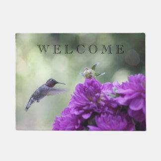 Hummingbird with purple dahlias doormat